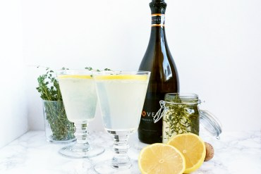 Lemon Elderflower and Thyme Prosecco Cocktail