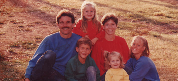 Our first prayer card, circa 1991. I'm the little blondie in red.