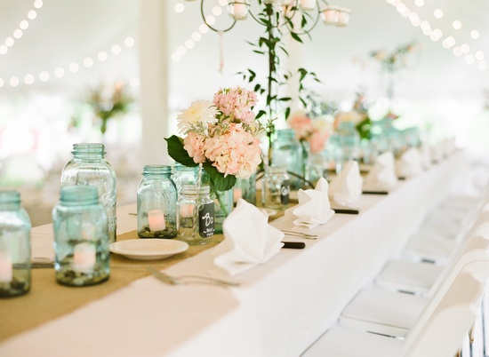 Mint and Peach Reception Decor
