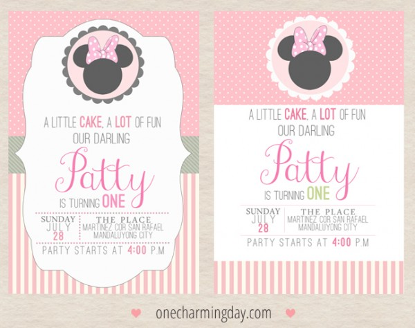 15 25,50 Lovely Handmade Minnie//Micky Mouse TWINS Christening Invitations 10