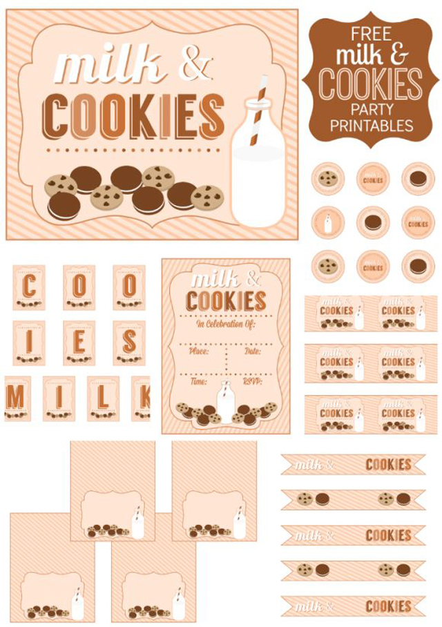 milk and cookies free printables