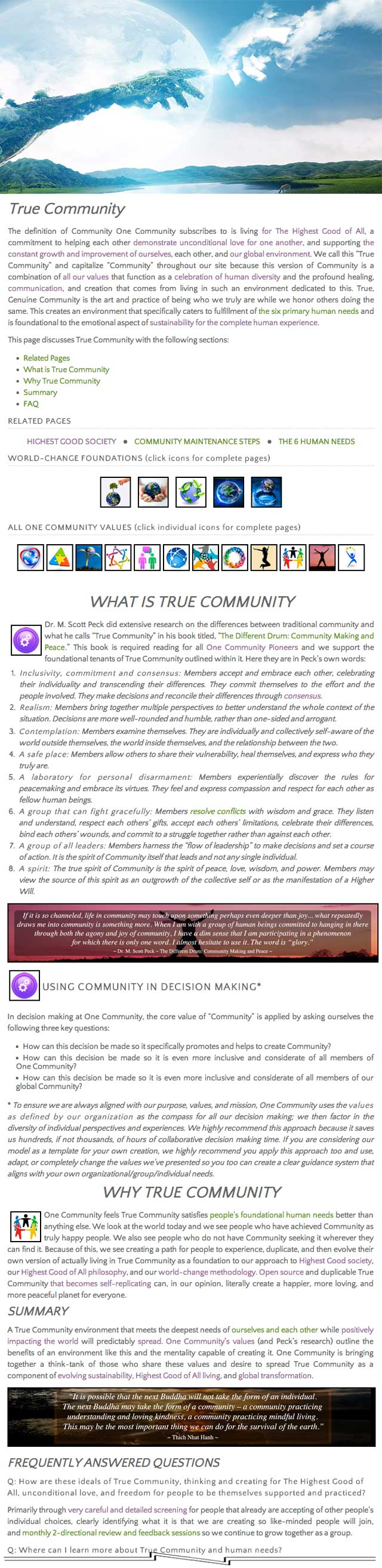 True Community page, One Community