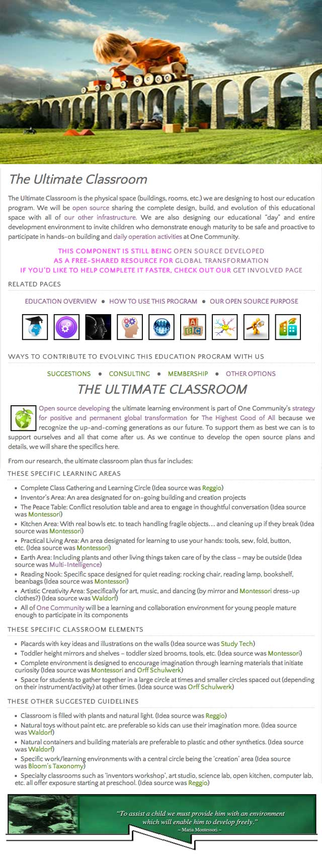 Ultimate classroom page in progress, One Community