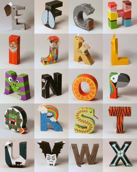 Printable 3D Alphabet from DigitProp