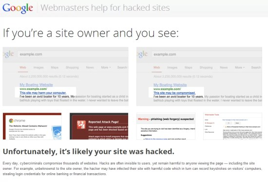 Webmasters help for hacked sites – Google