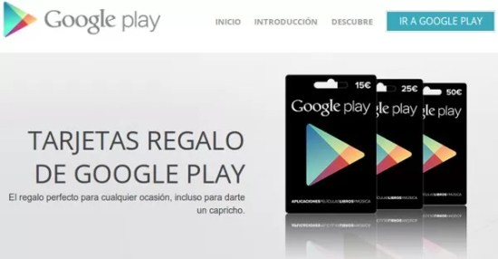 tarjetas de regalo google play