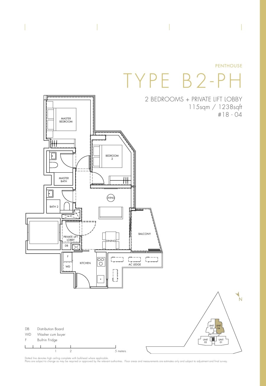 One Draycott 2 Bedroom Penthouse Type B2-PH Floor Plans