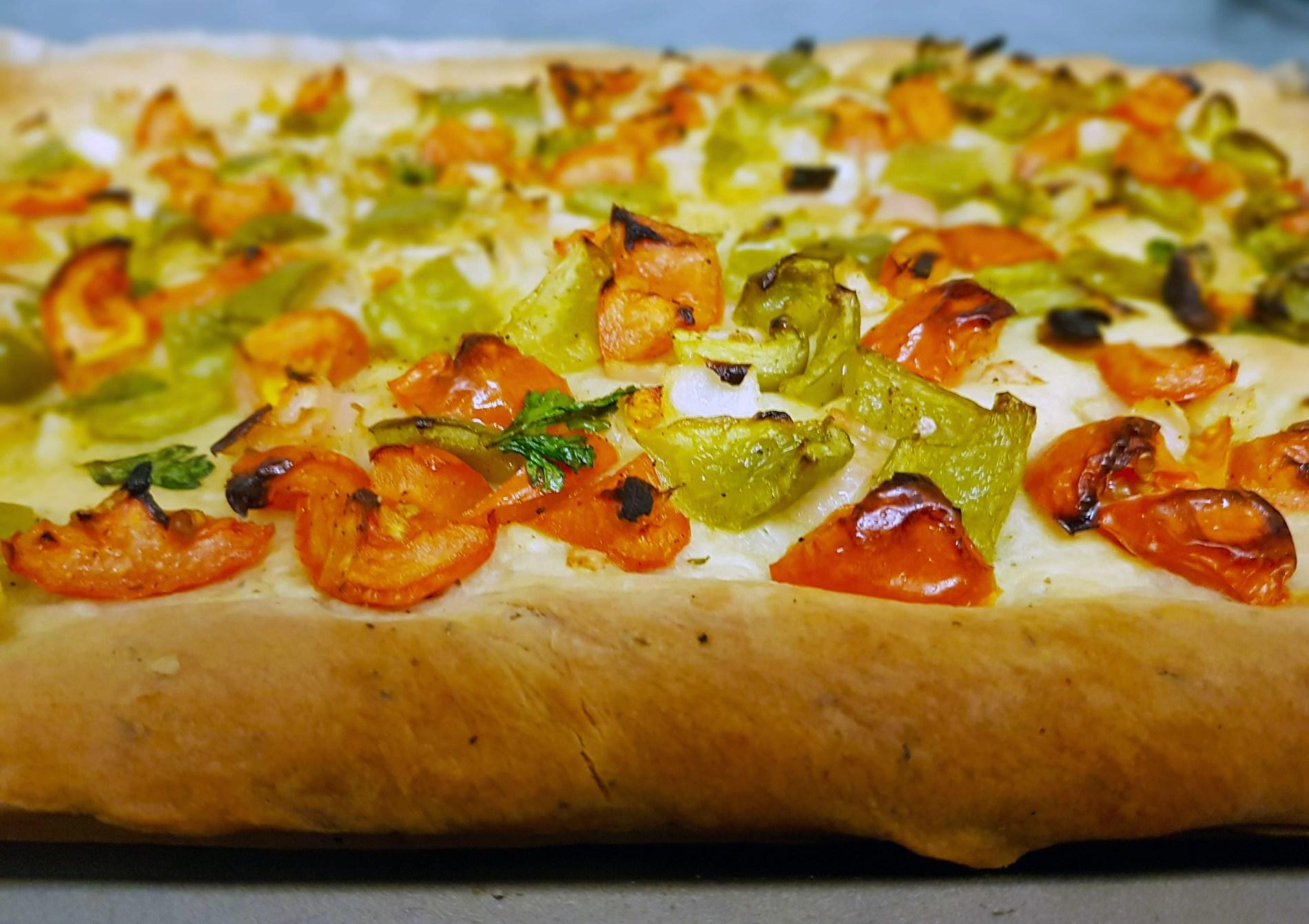 Coco De Trampo; Mallorca Vegetable Flatbread Recipe main - one epic road trip blog