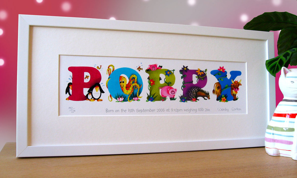 Name Art Framed Personalised Name Prints From Onefineday