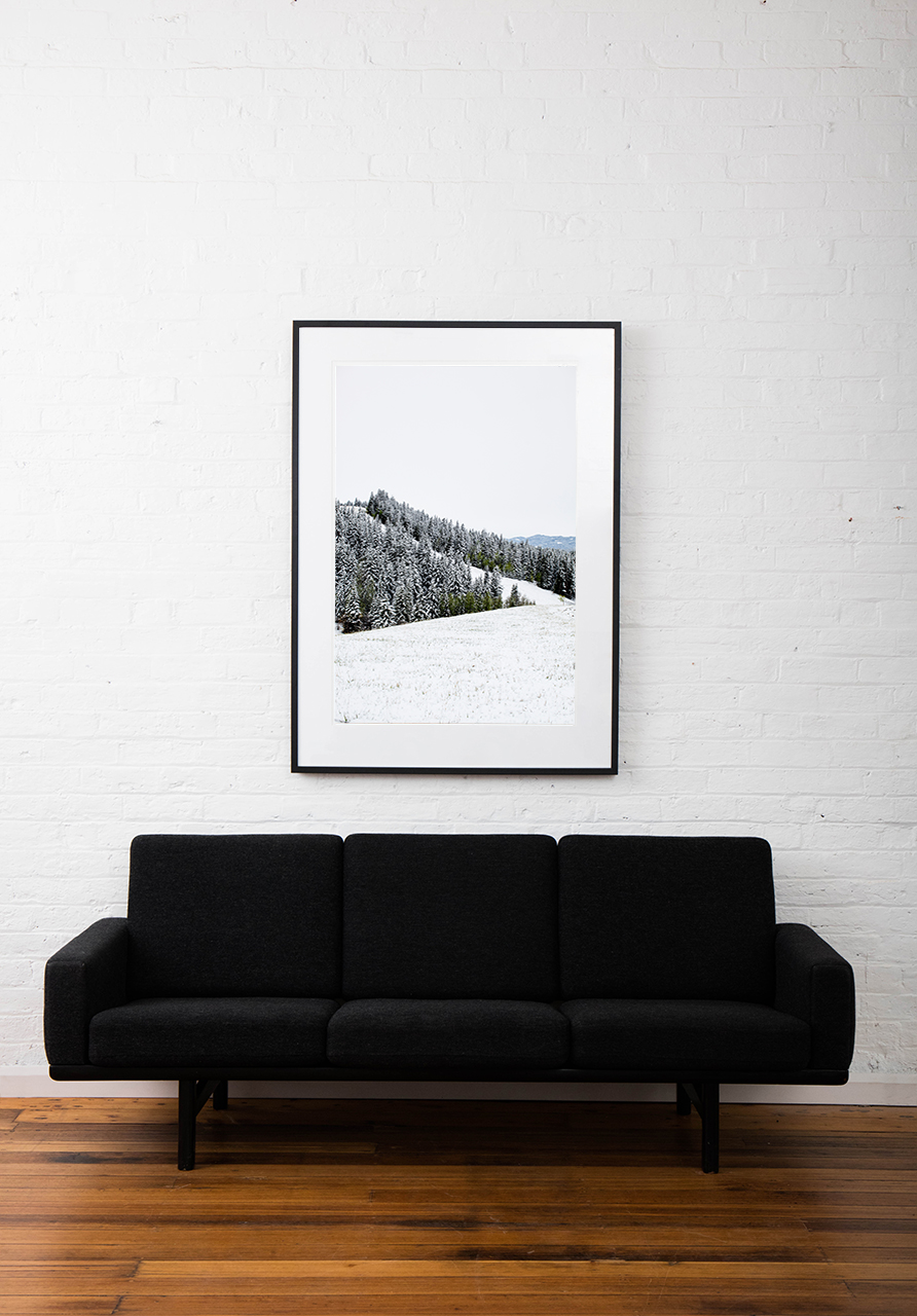 Large vertical photographic landscape print of snow, moutain and trees taken in North America framed in black timber on wall above sofa