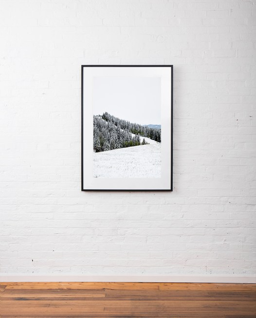 Large vertical photographic landscape print of snow, moutain and trees taken in North America framed in black timber on wall