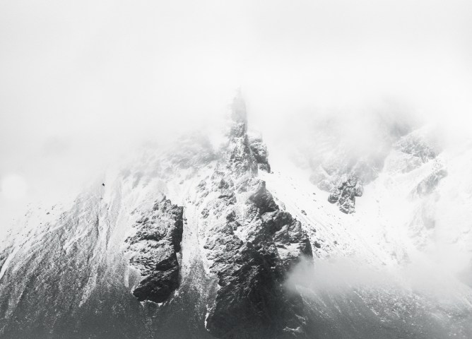 A photographic prints of icelandic mountains covered snow by One Fine Print