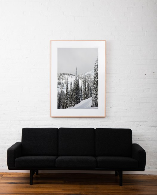 Large vertical photo of North American Landscape of snow, mountains,and trees in shade of green, black and white framed in raw timber on white wall above sofa