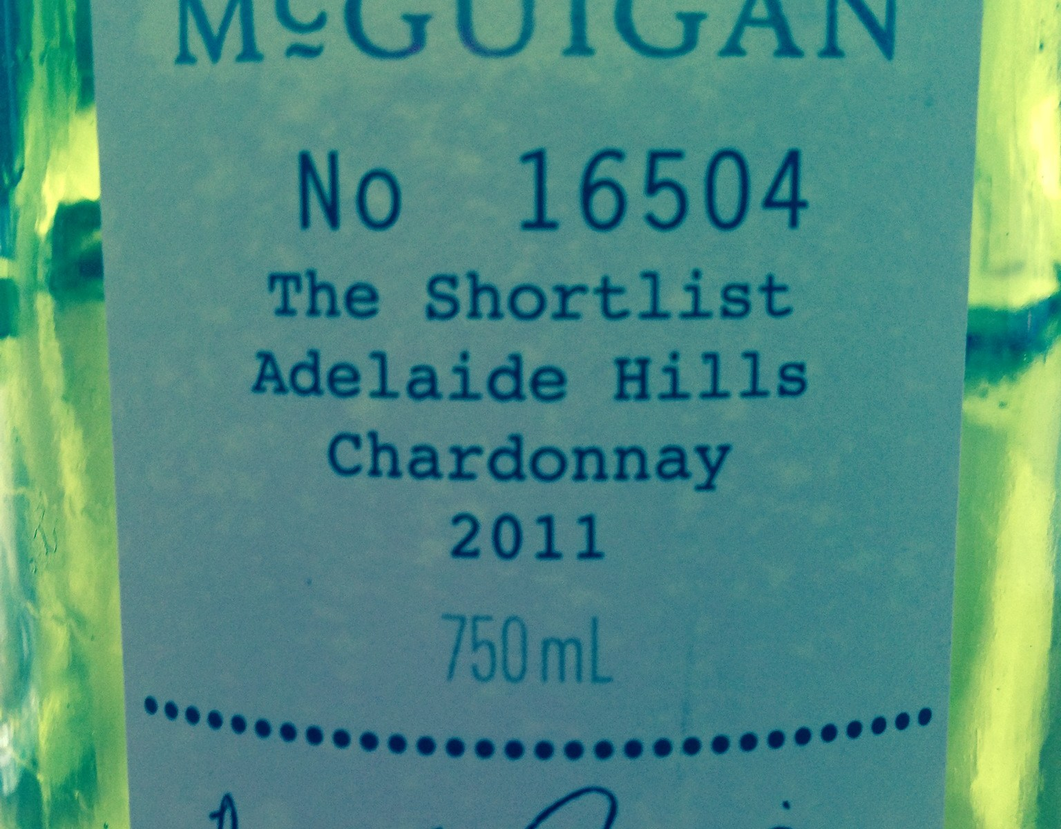 McGuigan Shortlist Chardonnay, 2011, Adelaide Hills