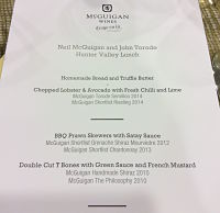 The Mcguigan Torode lunch menu and wine pairings