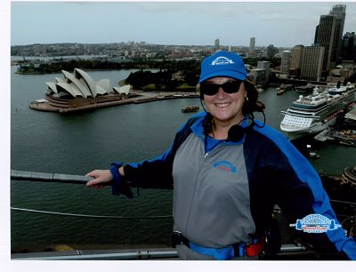 Secret Sydney Travel Review: Jane Clare on top of Sydney Harbour Bridge: Picture courtesy of www.bridgeclimb.com