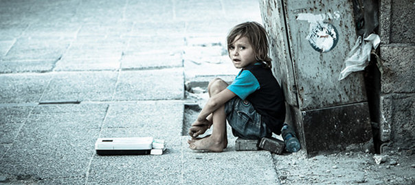 Refugees: boy on street