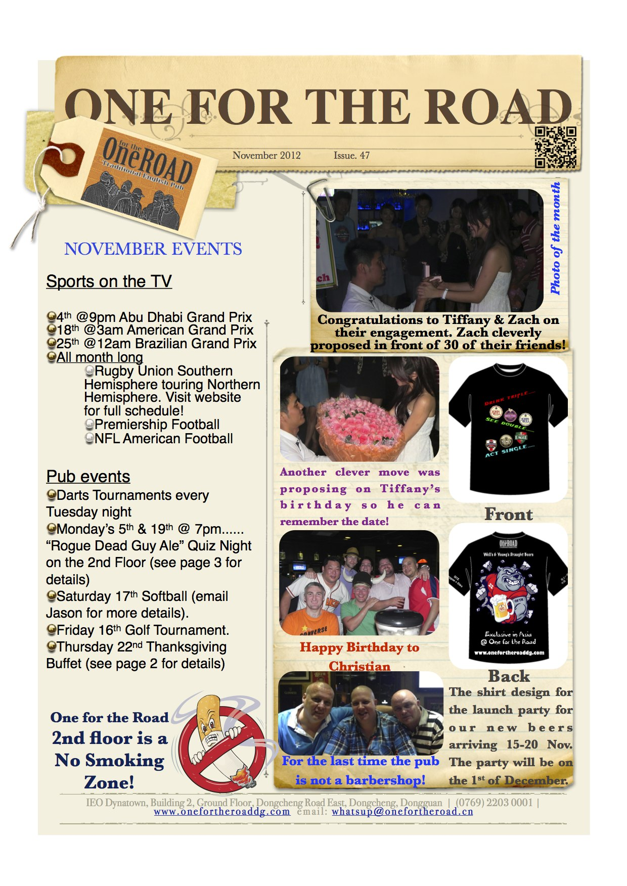 November 2012 One for the Road Newsletter