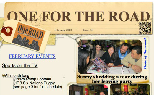 February 2013 One for the Road Newsletter is here!