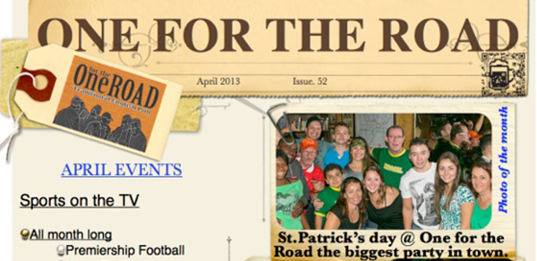 April 2013 One for the Road Newsletter is here now!  Get ready for a BIG party!