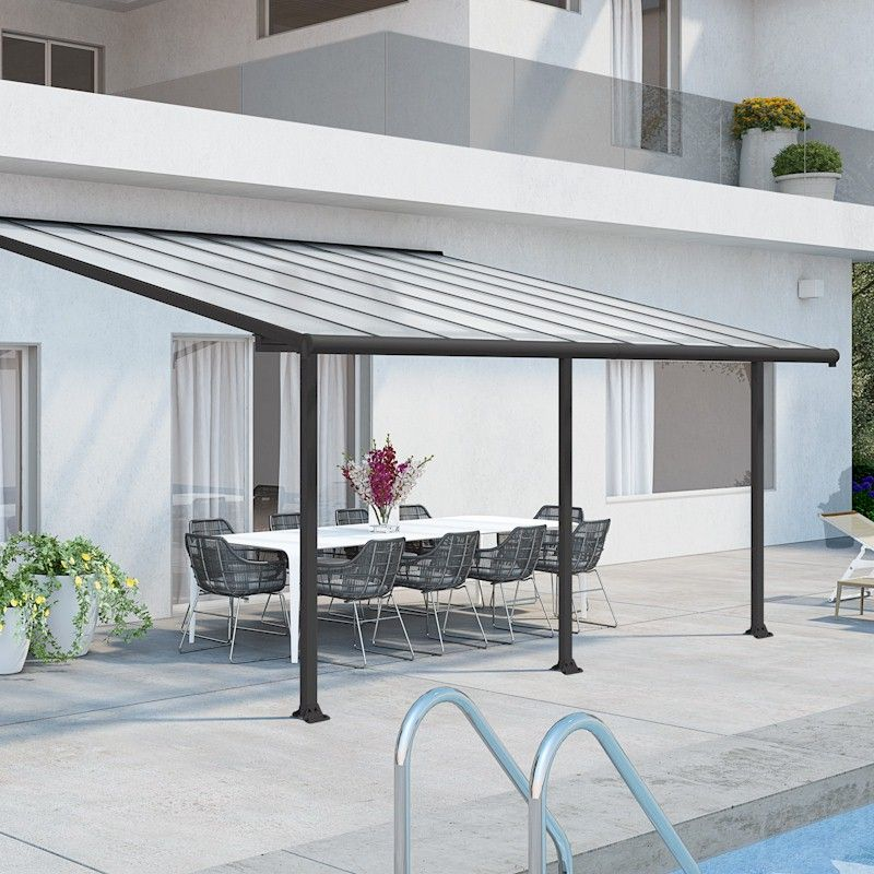palram olympia patio cover 3m x 5 46m grey clear