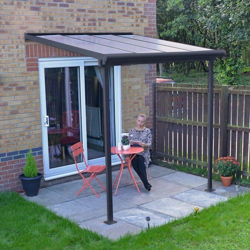 palram sierra patio cover 2 3m x 2 3m grey clear
