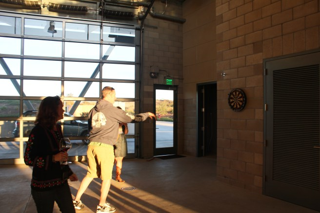 Enjoying the dart board at Pres'quile Winery during WBC '14.