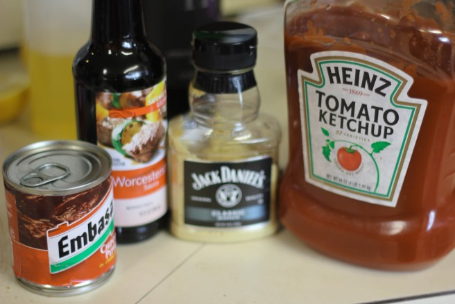 Canned Chipotle, Worcestershire Sauce, Jack Daniels Mustard, Heinz Ketchup