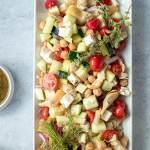 marinated feta greek salad on platter