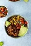 Carnitas-style jackfruit burrito bowls