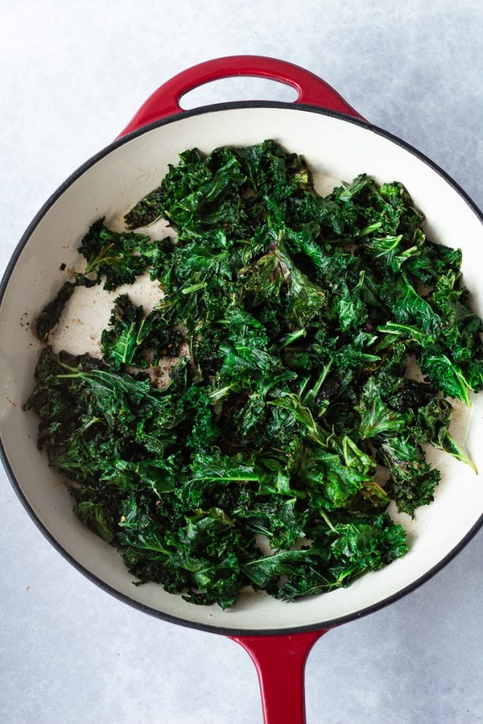 full pan of sautéed kale