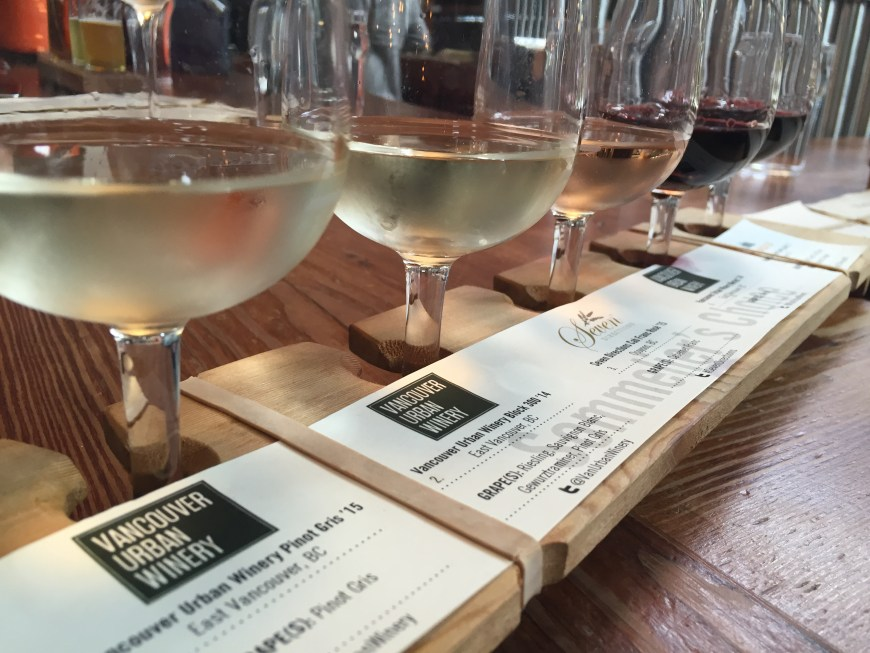 Wine flights at Vancouver Urban Winery, a great addition to our two-day Vancouver itinerary