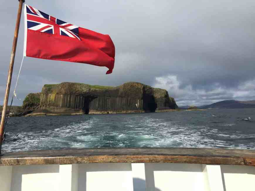 Aboard the Iolaire of Iona, leaving Staffa and Fingal's Cafe behind