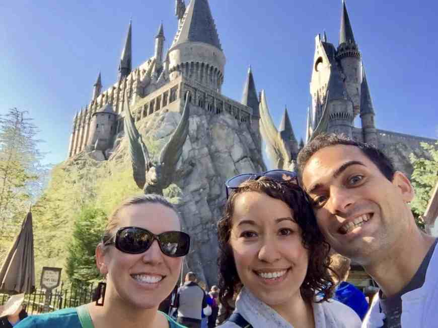 Two Potterphiles and one other person. The Wizarding World of Harry Potter was so fun!