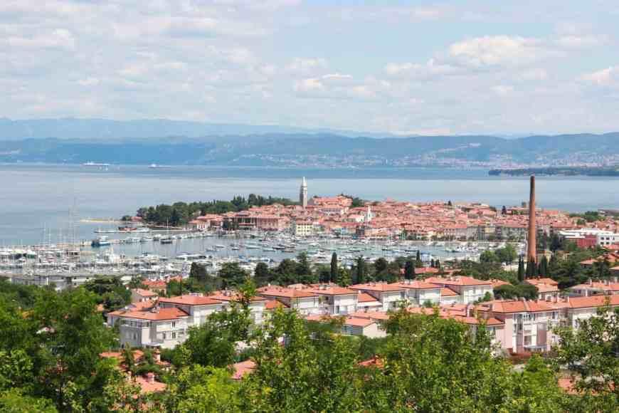 View of Piran, Slovenia, from afar...Piran is a perfect day trip from Ljubljana
