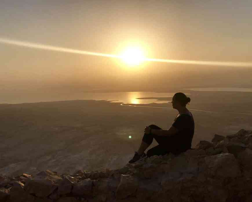 Feeling like the only person in the world, watching the sun creep up over the Dead Sea #israel