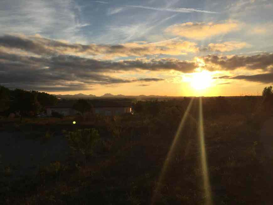 Sunrise in Roquebrune-sur-Argens before an afternoon touring wineries in Provence | an itinerary in the South of France, tips for touring wineries in Provence | a French Riviera itinerary isn't complete without tasting wines in Aix-en-Provence!