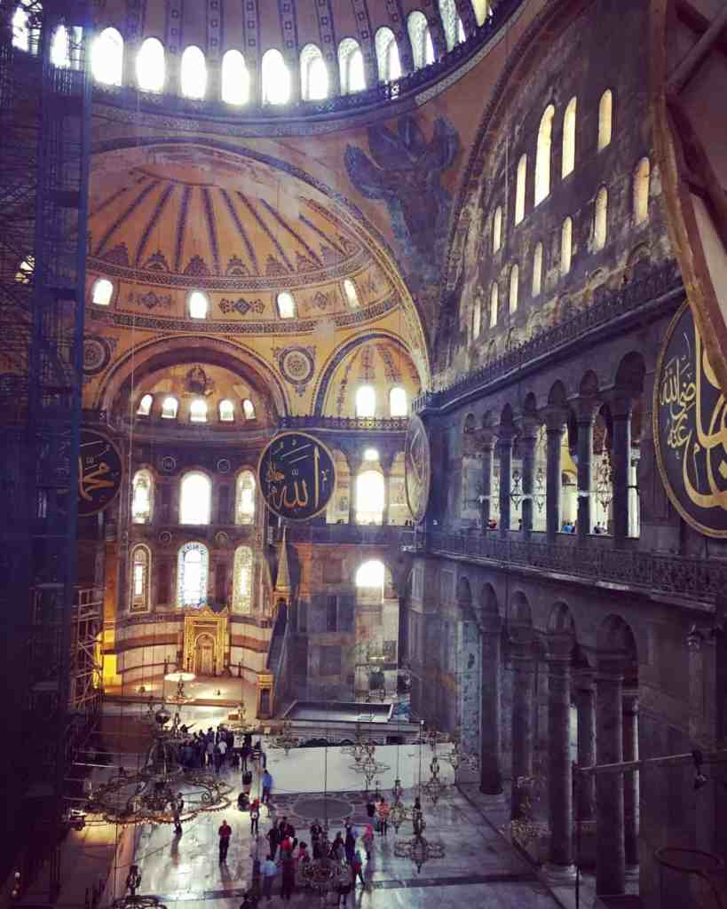 The inside of Hagia Sophia, one of the most famous buildings in the world and a must when visiting Istanbul   what to do with 24 hours in Istanbul, itinerary ideas for Istanbul, planning your trip, what to see, and more!