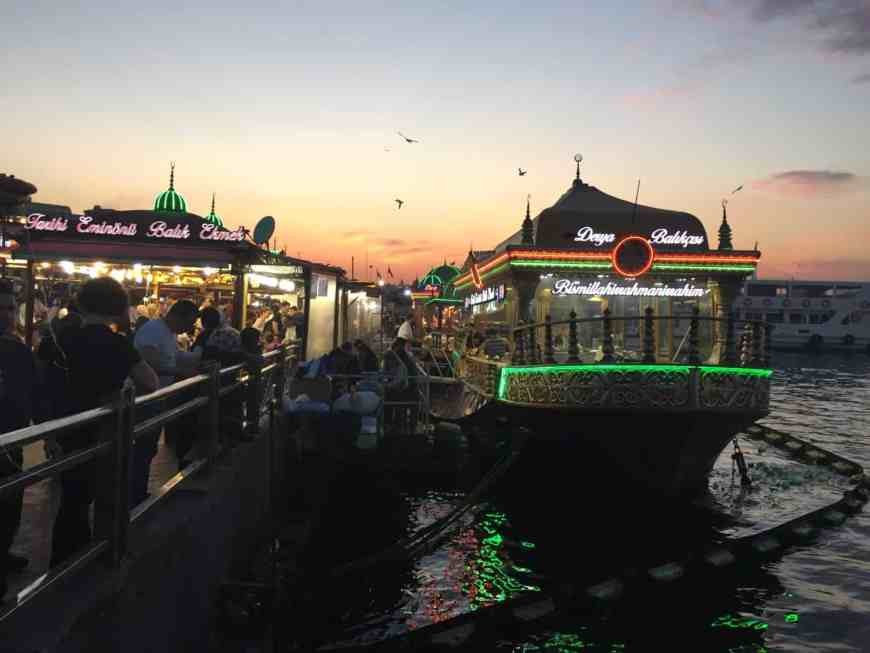 The fish boats of Eminonu at dusk   What to do in Istanbul if you only have 24 hours   tips for what to see & what to skip   Istanbul trip planning, itinerary ideas for Istanbul   Turkey itinerary advice