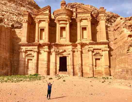 The magnificent Monastery at Petra. Even better than the Treasury in my opinion. I've put together the ultimate first-timer's guide to Petra | how to plan a self-guided visit to Petra, how to visit Petra, what to do in Jordan, Petra travel guide, travel tips for Petra, where to stay in Wadi Musa #petra #jordan #bucketlist