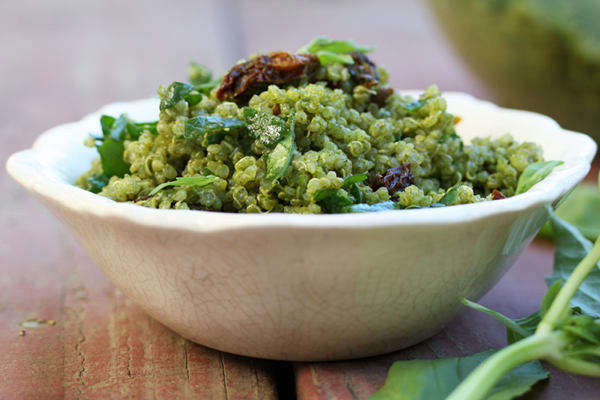 Quinoa with Secret Pesto and Sun-Dried Tomatoes