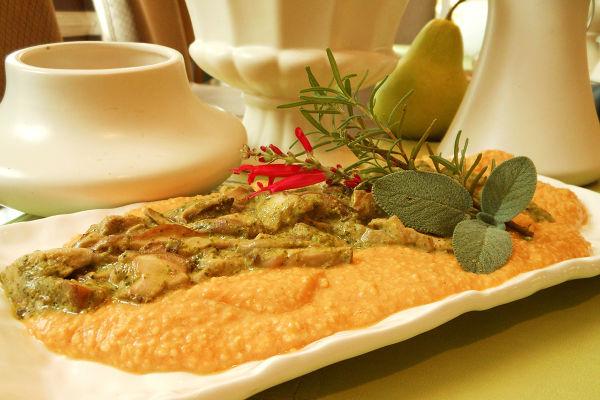 Recipe: Smokey Pumpkin Grits with Shitake Mushrooms in Kale Pesto Cream Sauce