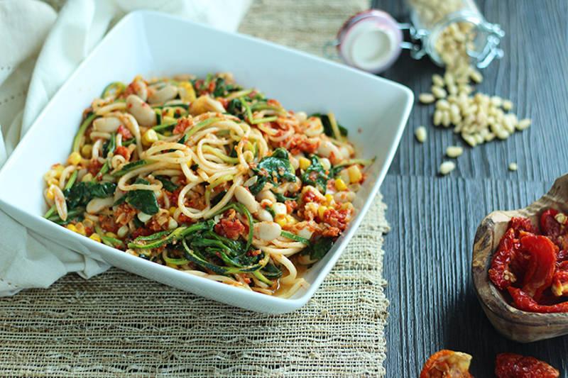 Recipe: Sundried Tomato Pesto Zucchini Pasta with Corn, Beans and Spinach
