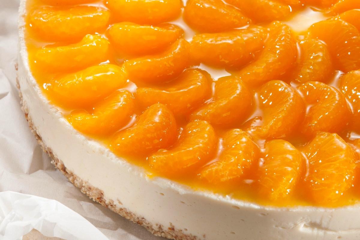 Yogurt Mandarin Cake with Amaranth Crust