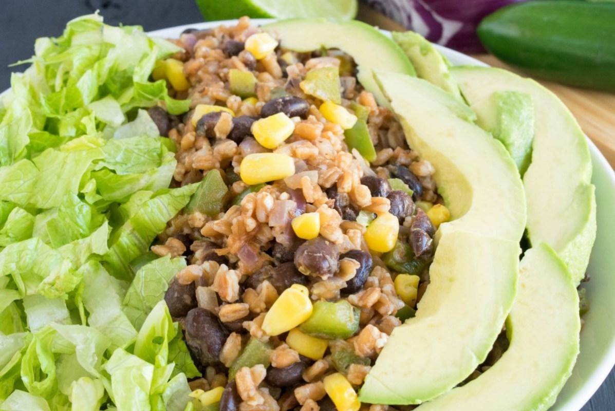 Farro Black Beans Mexican Bowl [Vegan]