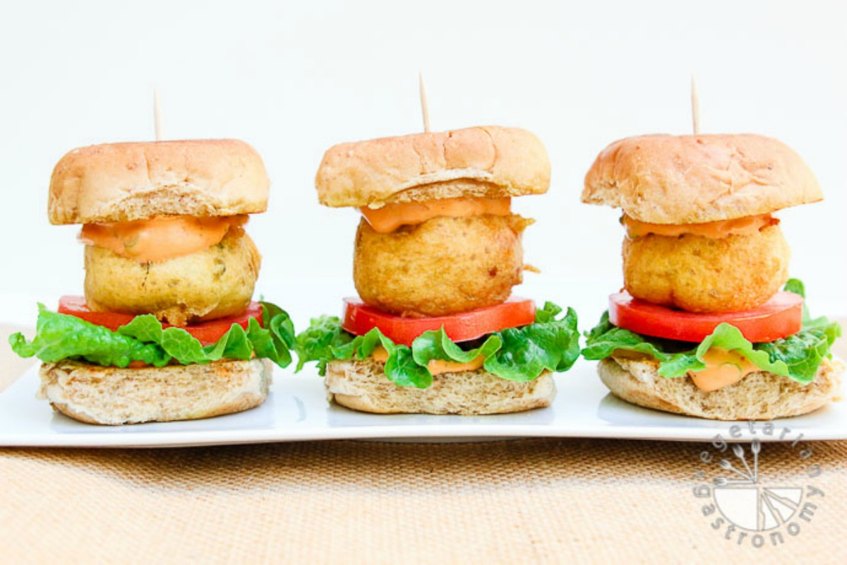 Potato Fritter Sliders With Chipotle Aioli [Vegan, Gluten-Free]