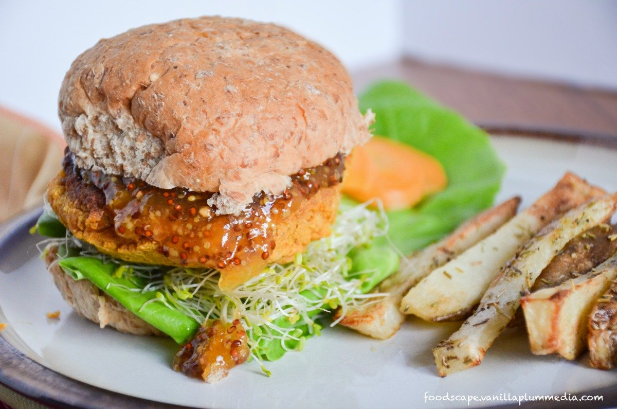 Sweet Potato Chickpea Burger With Apricot Mustard and Rosemary Fries