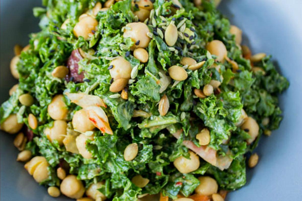 Kimchi Kale Salad [Vegan, Gluten-Free]