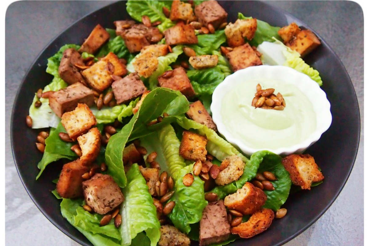 Herb Tofu Caesar Salad With Spicy Pepitas [Vegan, Gluten-Free]