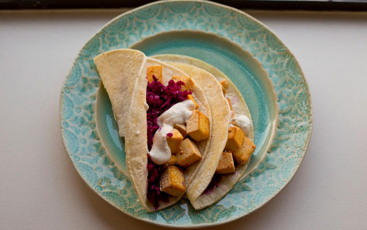 Kimchi Tofu Tacos with Cashew Crema [Vegan]